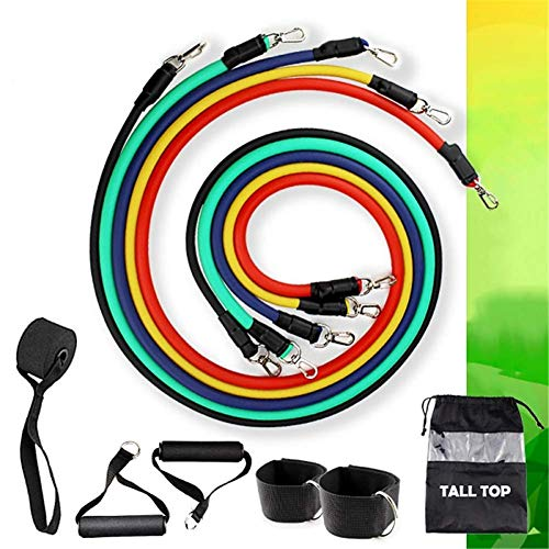 ZEH 11 PC nach Hause Gyms Resistance Band Pull Rope Set, Workout Natur Latex Expander Tubes-Trainings-Gummiband FACAI (Color : Color)