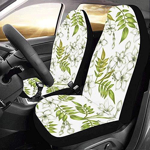 Enoqunt Protezione floreale bianca delle coperture dei sedili delle automobili del gelsomino per il veicolo SUV del camion del jeap dell'automobile