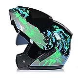BUETR Casco de motocicleta eléctrica casco de doble lente casco de cara abierta casco de casco completo casco de carrera de carrera casco de seguridad de bicicleta de montaña-M_Green hambriento lobo