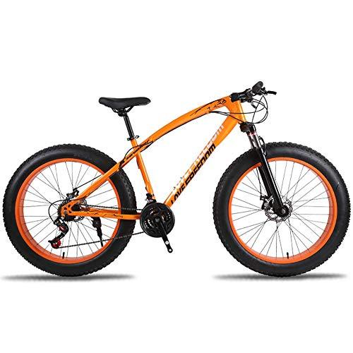Unbekannt Mountainbike, 26-Zoll-Fat Tire Straßen-Fahrrad Schnee Bike Beach Bike High-Carbon Stahlrahmen, mit Scheibenbremsen und Federgabeln,Orange,24Speed