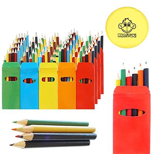 25 Sets de Lápices de Colores Infantiles Partituki. 6 Mini Lápices por Caja. 150 Lápices en Total. Con 1 Frisbee. Ideal Fiesta de Cumpleaños Infantiles, Recuerdos de Bodas y Colegios