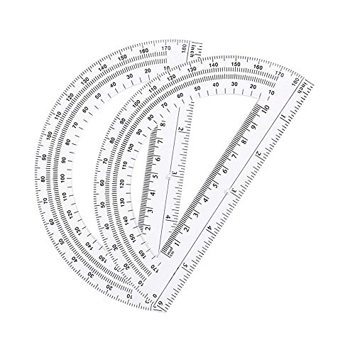 Lelines Plastic Protractor 180 Degree, 2 Pieces Student Math Protractors 6-inch Long, Clear (2)