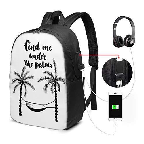 Usicapwear rugzak, vind me onder de palmen in handgeschreven stijl hangmat tussen palmbomen