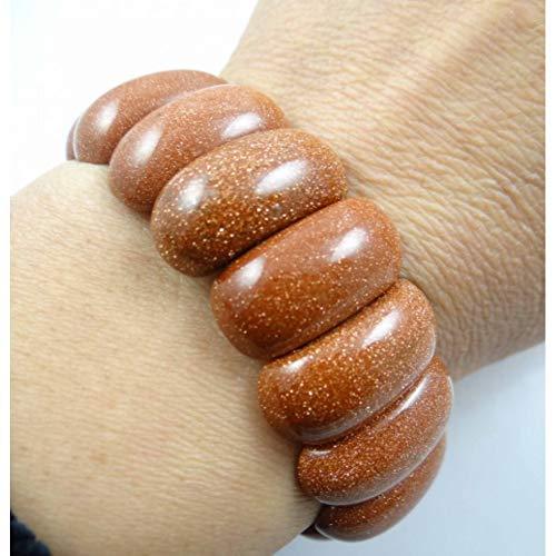 ABDYTE Natürliche Gold Sandstein Armband Energie Armreifen Stretch Kette Naturstein Klobige Armbänder Schmuck