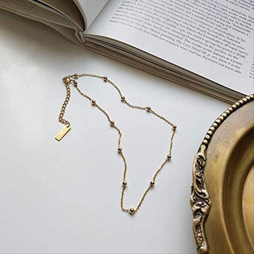 NC188 Necklace 925 Gold Round Beaded Choker Necklace Wild Round Beaded Chokers Necklace For Women Gold Jewelry For Necklace Gift Charms