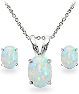 Sterling Silver Genuine, Created or Simulated Gemstone Oval Solitaire Necklace & Stud Earrings Set
