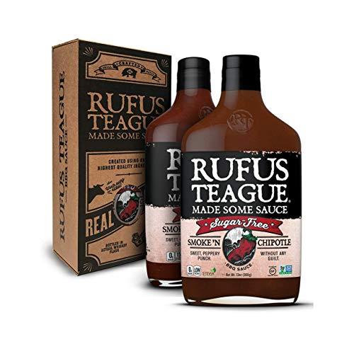 Rufus Teague - Sugar-Free BBQ Sauce Smoke N' Chipotle - Premium Barbecue Sauce - 13 oz. Bottles - 2 Pack