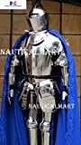 Nautical-Mart Italian Knight Full Suit of Armor Medieval Knight's Closed Helmet Costume with Blue Cape