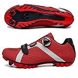 LU-Model Zapatillas de Ciclismo Elite SPD MTB para Hombres Mujeres Ideales para Bicicletas de montaña, Ciclismo de Ciclo XC en incluidos Red-41