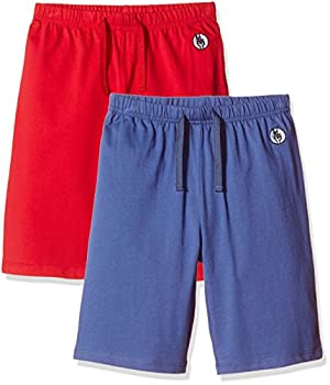 Kid Nation Kids Unisex 2 Packs 100% Cotton Casual Pull on Shorts for Boys and Girls L Gray Blue + Tomato Red