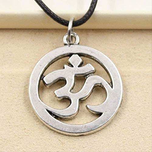YOUZYHG co.,ltd Silver Color Tibetan Necklace Yoga Om Pendant Necklace Cho Charm Charm Black Leather Cord Handmade Jewelry