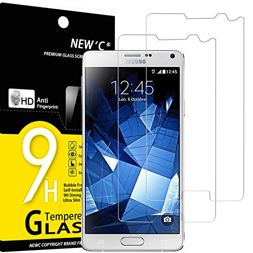NEW'C 2 Unidades, Protector de Pantalla para Samsung Galaxy NOTE4, Antiarañazos, Antihuellas, Sin Burbujas, Dureza 9H, 0.33 mm Ultra Transparente, Vidrio Templado Ultra Resistente