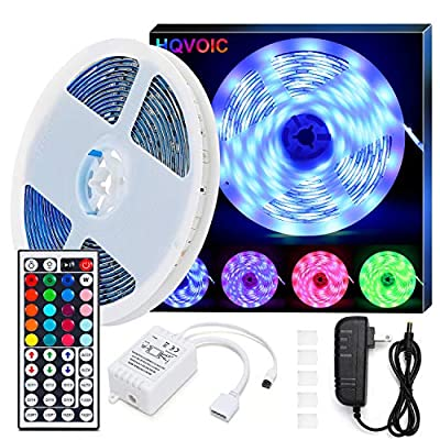 LED Strip Lights, HQVOIC 32.8ft Non-Waterproof Tape Lights Color Changing 5050 RGB LEDs Light Strips Kit with Remote for Home Lighting Kitchen Bed Flexible Strip Lights for Home Bedroom Decoration from