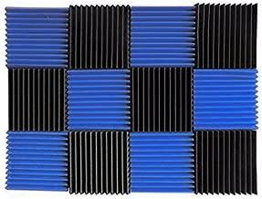 (12 Pk) Blue / Charcoal acoustic foam tiles soundproofing foam panels sound insulation soundproof foam padding sound dampening Studio sound proof padding 1
