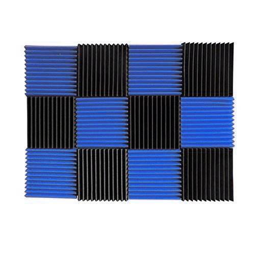 (12 Pk) Blue / Charcoal acoustic foam tiles soundproofing foam panels sound insulation soundproof