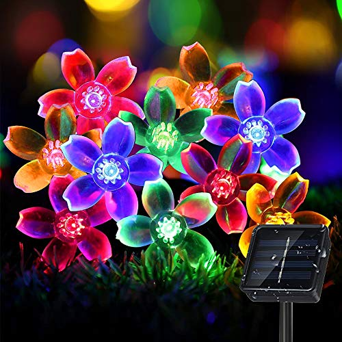 Sporgo Solar lichterkette Aussen,7M 50 LED Blumen Solar Lichterkette 8 Modi IP65 Wasserdicht Solar String Lights für Garten,Bäume,Terrasse,Weihnachten,Hochzeit,Party