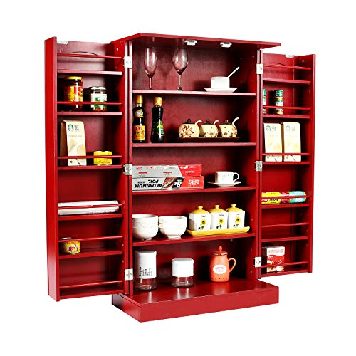 HOME BI Kitchen Pantry Cabinet with Doors and Shelves, Double Door Food Storage Cabinet with 5 Shelves, Cupboard Space Saving Cabinet,Red