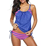 Zando Womens Swimsuits Two Piece Tankini Swimwear Color Block Swimming Suits Double Up Bathing Suits Pink Blue Stripe L (US Size 8-10)