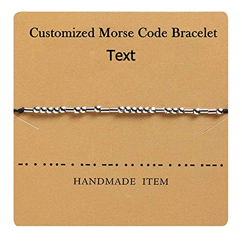 RWQIAN Customize Personalized Morse Code Bracelet Adjustable Handmade Rope Friendship Bracelet inspirational Jewelry Gift for Best Friend (Customize 1pc)