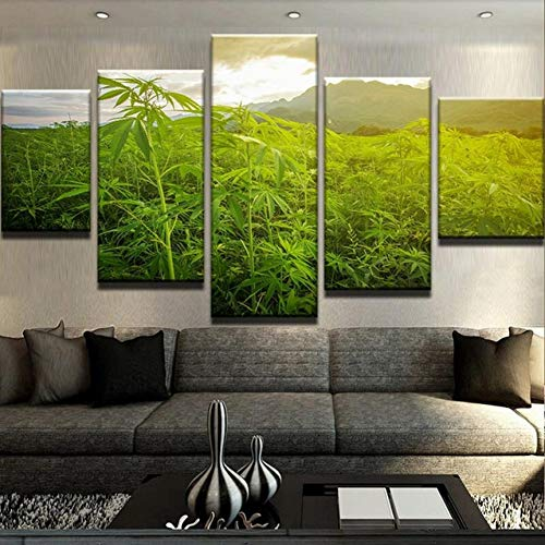ZSYNB 5 Leinwandbilder Leinwand Wandkunst Bilder Für Wohnzimmer Wohnkultur 5 Stücke The Wild Weed Fields Gemälde HD Drucke Blatt Poster