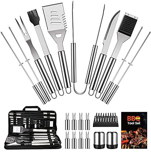 OlarHike BBQ Grill Accessories Set for Men, 22PCS Grilling Accessories Set, Stainless Steel BBQ Tools Gift Utensil with Spatula, Tongs, Skewers for Barbecue, Camping, Kitchen