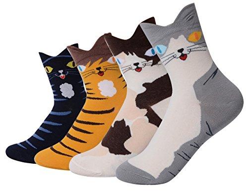 QBSM Girl Cartoon Cat Animal Cute Casual Cotton Novelty Crew Socks-Gift Idea