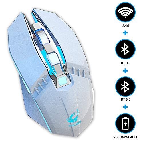 KILISON Kabellose Maus Gaming Bluetooth, DREI Modi Maus Wiederaufladbar (BT5.0+BT3.0+2.4G Wireless) Multi-Device Silent Funkmaus für Mac OS/MacBook/Windows/Android/Tablet/PC/iPhone, Weiß