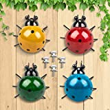 GORNORVA 4PCS Metal Insect Wall Decor,Cute Metal Ladybugs Outdoor Wall Sculptures Outdoor Decor Wall Metal Ladybugs Art for Outdoor Backyard Porch Home Patio Lawn Fence Decoration (4Colors,3.5Inch)