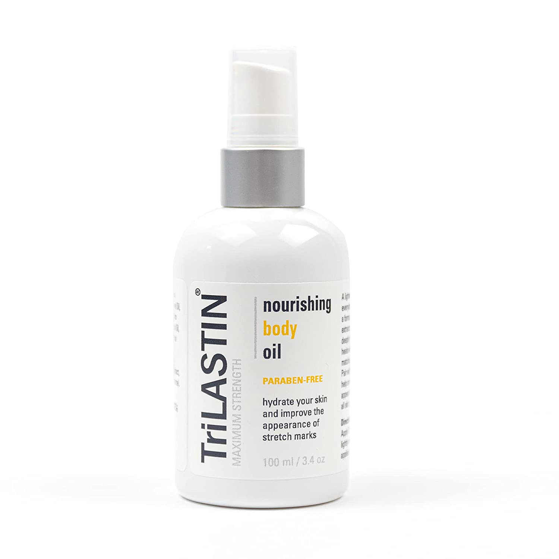 TriLASTIN Maternity Stretch Mark Prevention Oil, Paraben-Free, Hypoallergenic, Non-greasy, Reduces Stretch Marks, Safe for Pregnancy & Postpartum, 3.4 oz. bottle