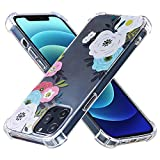 HOURTT Back Case for iPhone 12 Pro Max for Women Girls, TPU Full-Body Shockproof Protective Phone Case Clear Flowers Design Slim Soft Border Hard Back Cover for iPhone 12 Pro Max 6.7 inch Phone Cover