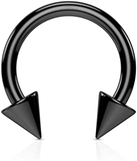 BCN SOLD IN PAIRS Horseshoe Horse Shoe Titanium IP Over 316L Surgical Steel w/Cone Spikes