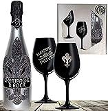 D. Rock Luxus-Champagner Geschenkset - inkl. 2 schwarzer Champagnergläsern mit silbernem Emblem &...