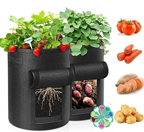 2 Stück Kartoffelsack, 10 Gallonen Pflanzsack Pflanzbeutel Pflanztopf mit Sichtfenster und Griffen, Atmungsaktive Pflanztaschen für Kartoffeln, Blumen, Pflanzen, Gemüse