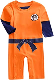 ConquroBody de Manga Corta Verano Recién Nacido Bebés Unisexo Niños Niñas Carta Impresión Mameluco Trajes Ropa Mono Disfraz Pijama Regalo Original Camiseta 2019 para Goku (18-24 Meses, Naranja-C)