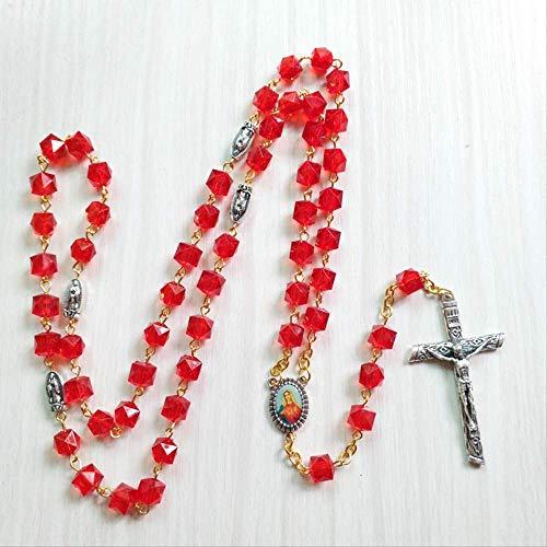 Plaza Roja Cuentas Collar Jesús Cruz Católico Colgante Moda Encanto Mujeres Joyería Strand Regalo para Amigo