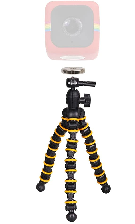 Polaroid Snap and Wrap Flexi Tripod with 360° Rotating Ball Head + Polaroid Magnet to Tripod Adapter Mount For Polaroid Cube, Cube+ Action Camera - Mount Your Cube To The Flexi Tripod
