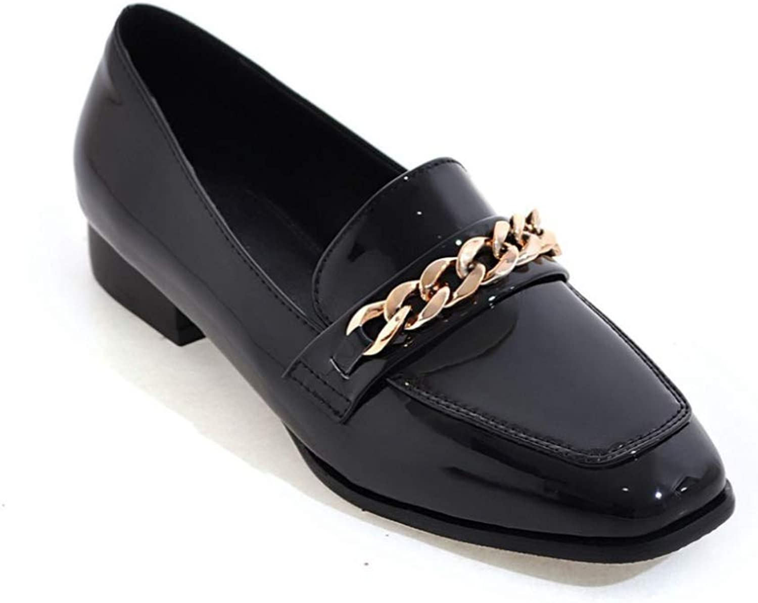 Women's Patent Leather Chain Penny Loafers Low Heel Slip On Square Toe Loafer shoes
