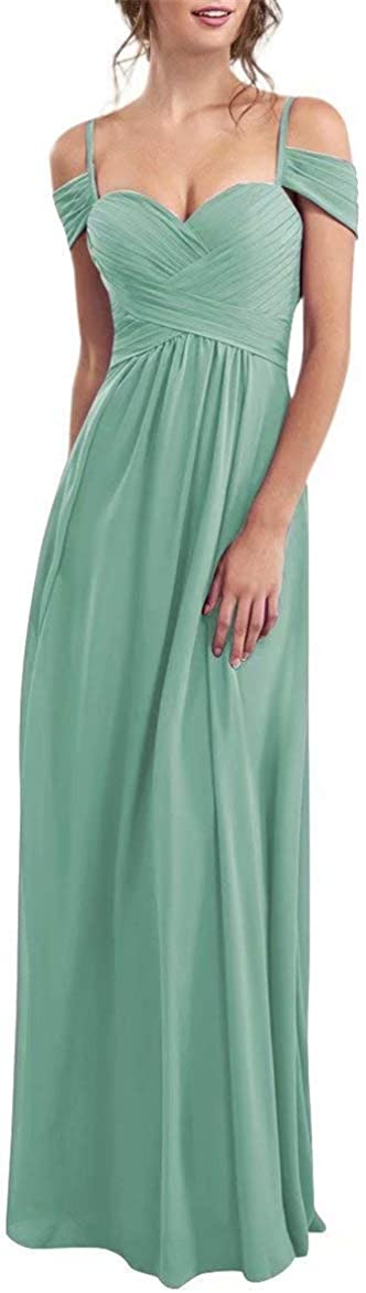 SoDigne Women's Off The Shoulder Pleated Chiffon Bridesmaid Dress Long Formal Event Party Gown