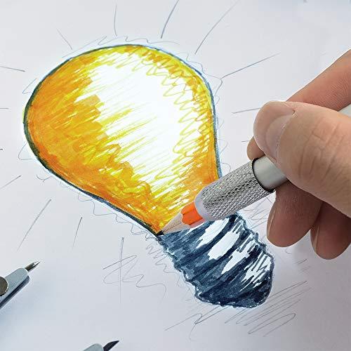 8 pcs Pencil Extenders, FineGood One Head & Dual Head Metal Handle Pen Holder Lengthener, School Office Supplies Art Writing Tool
