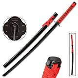 Tomahawk Black and Red Dojo Training Katana - Black Stainless Steel Blade, Red Cord Wrapped Handle, Lacquered...
