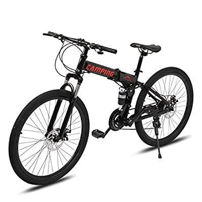 """PEXMOR 24"""" Folding Mountain Bike, 21 Speed Mountain Bicycle Foldable with High Carbon Steel Frame & Double Disc Brake, Front Suspension Anti-Skid Shock-Absorbing Front Fork, Outdoor Adult Bike, Black"""