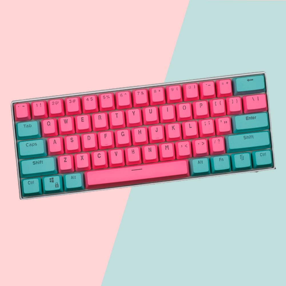 Honeypomelo 61 Keycap Set, 60% Mechanical Gaming Keyboard OEM Profile RGB PBT Keycap Set with Puller for Cherry Mx Gateron Kailh Switch Mechanical Keyboard (Only keycaps)