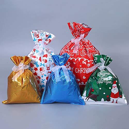 HSTFR Taschen mit Kordelzug, Süßigkeiten Taschen Weihnachtsmann Weihnachtsbaum Lebensmittel Aufbewahrung Taschen Geschenkverpackung Paket Taschen für Weihnachtsfeierzubehör