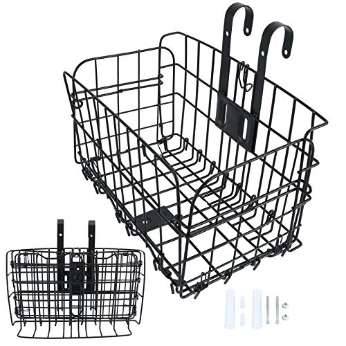Folding Rear Bike Basket Wire Mesh Rust Proof, Easy Installation on Front Handlebar & Rear Seat, Bike Basket Bicycle Bag Cargo Rack for Mountain Bike Accessories, Frame Basket (1 Pack)