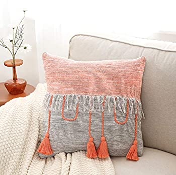 MUMO Throw Pillow Cover 18 x 18 Decorative Knitted Pillow Case Boho Throw Pillow Covers Cushion Case with Tassels for Couch Sofa Bedroom Office Car Grey Orange