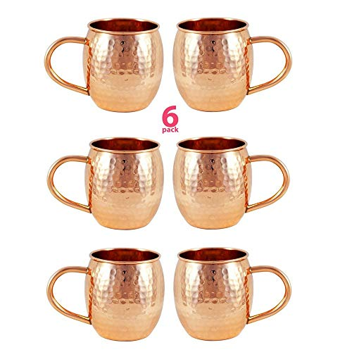 6 PACK Alchemade Copper Barrel Mug for Moscow Mules - 16 oz - 100% Pure Hammered Copper - Heavy Gauge - No lining