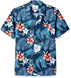 Amazon Brand - 28 Palms Men's Standard-Fit Tropical Hawaiian Shirt, Red/White/Blue Hibiscus Floral Large