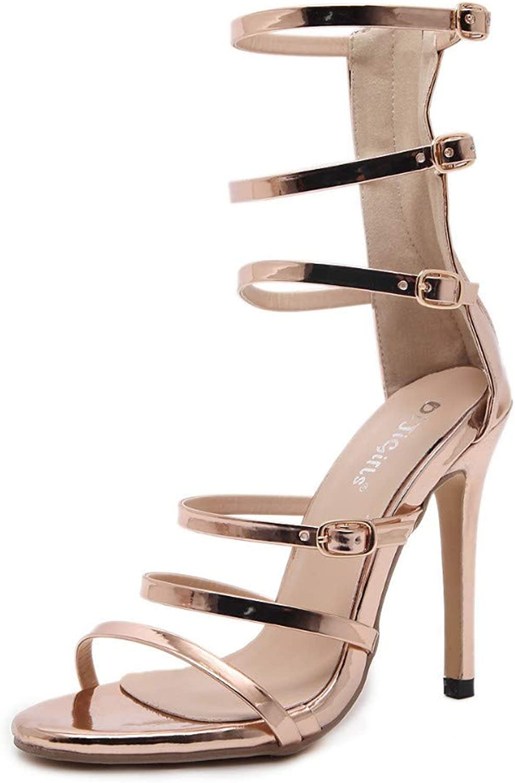 JQfashion Women's High-Heeled Sandals Sexy Belt Button Roman shoes Summer Sexy Hollow-Out
