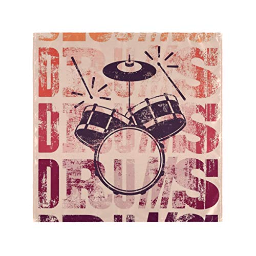 XHYYY Servilletas de tela de 50,8 cm, lavables de poliéster, 6 unidades, tambores tipográficos JC, estilo vintage, servilletas de satén retro, ideales para bodas, fiestas, cenas de vacaciones y más