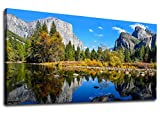 Canvas Wall Art Lake Mountain Picture for Bedroom Living Room Decorations Yosemite National Park Canvas Artwork Landscape Nature Pictures for Office Home Wall Decor 20' x 40' Framed Ready to Hang